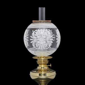 embossed globe oil lamp shade with leaf motif